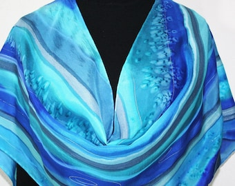 Silk Scarf Handpainted. Blue, Turquoise Hand Painted Shawl. Handmade Silk Wrap SAIL AWAY. Large 14x72. Birthday, Mother Gift. Gift-Wrapped