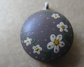 handpainted flower pendant in cocoa