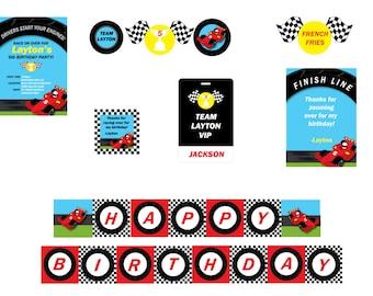 Race Car Birthday Party Package- Race Car Invitation- Race Car Theme Party- Cars Birthday Party- Race Car Theme