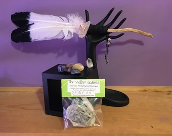 Smudge Fan with Gemstone Collection and Smudge Kit