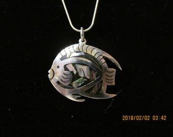 Sterling silver, paua shell, pendant