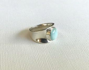 Larimar and Sterling Silver Ring, Sterling Silver Ring, Ocean Jasper, Ring Size 7.75