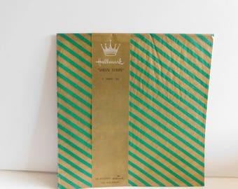 HALLMARK GIFT Wrap: Green and Gold Stripe Sheen Gift Wrap, Beautiful Christmas Gift Wrap, Hallmark Christmas Wrap, Sheen Stripe Wrap