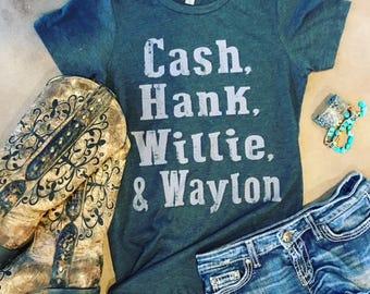 Cash, Hank, Willie & Waylon Tshirt - Country western songs singers