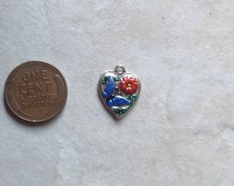 Vintage Sterling Silver Puffy Heart Enameled Blue Butterfly Bracelet Charm