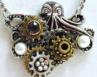 Octopus Necklace, Steampunk Octopus Necklace, Watch Gear Necklace, Steampunk Jewelry