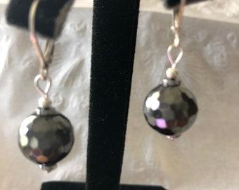 Slate gray faceted glass bead earrings