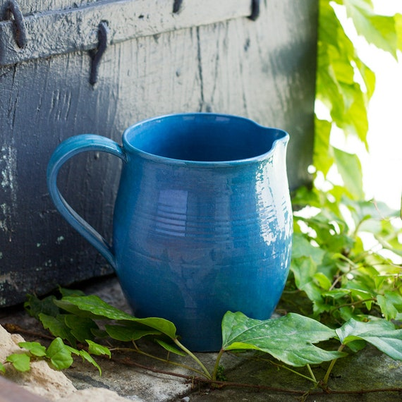 French Provencal Blue Handmade Pitcher