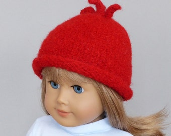 Felted wool hat with rolled brim for American Girl dolls: 18 inch doll, red, wool, hat