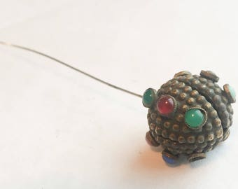 Victorian Hatpin with Textured Brass Globe and Czech Glass