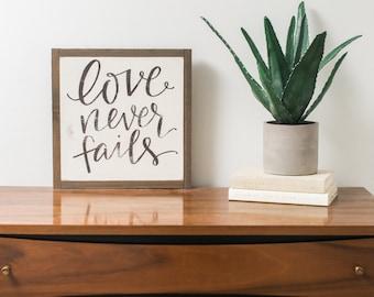 Love Never Fails {Handlettered} 1x1