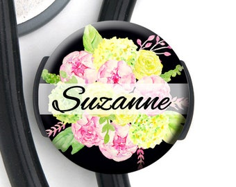 Stethoscope Tag - Pink Green Floral Bouquet - Personalized Name Badge Reel, Steth Tag, Lanyard, Carabiner Nurse Badge / Steth ID / LPN / RN