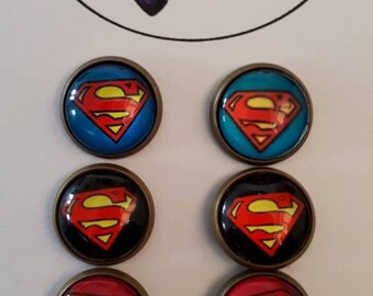 Superman Stud Earrings set 3 pack super woman Jewellery, sci fi fan, geek, antique bronze, retro, comic book hero, geek girl gift, movie fan