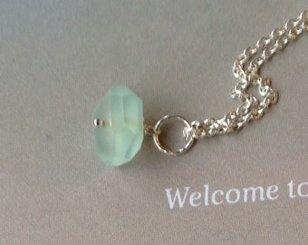 Aqua Peruvian Chalcedony Pendant, AAA Chalcedony Necklace, Bridesmaid Necklace, Flowergirl necklace, Gift for MOM, Sterling Silver