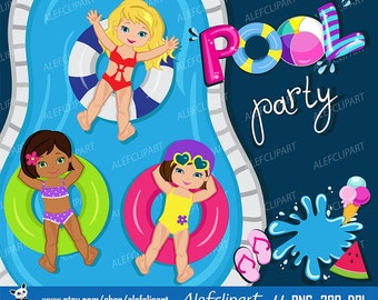 Pool Party Clipart, Pool party clipart , Swim Girls Digital Clipart Set, Summer girls  For Personal and Commercial Use