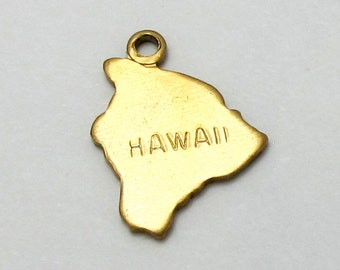 Engraved - Tiny Raw Brass Hawaii State Charms (6X) (A410-A)