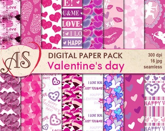 Digital Valentine's day seamless Paper Pack, 16 printable Digital Scrapbooking papers, pink Valentines Collage, Instant Download, set 102