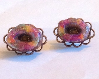 King Cake Earrings - Handmade Polymer Clay - Copper or Gold