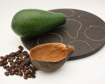 Recycled Coffee And Avocado Plate, Modern Trivet, Handmade woodturning, Decorative Plate, Natural Materials, Natural art