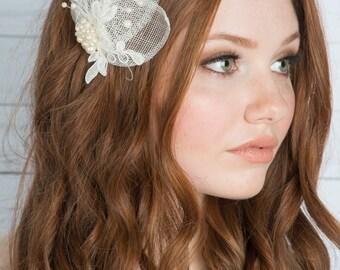Ivory Bridal Fascinator, Wedding Hairpiece, Ivory Fascinator, Ivory Headpiece, Bridal Hair Accessory, Wedding Hair Clip, Pearl Headpiece MIA