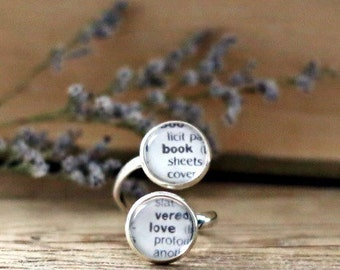 Book Love double book page ring. Dictionary page ring. Book Page Jewelry. Statement ring