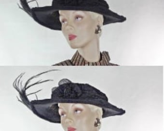 Edwardian Hat Black Beaded Chiffon Bicorn Bird of Paradise Feathers Dobbs #1462