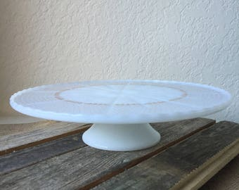 Anchor Hocking White Milk Glass & Gold Fleur de Lis Cake Stand Pedestal