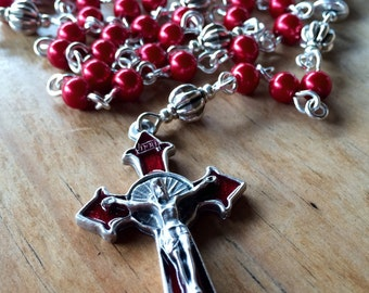 Rosary, handmade with red glass beads and tibetan silver crucifix and chalice station