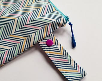 Colorful Herringbone Wet Bag, Bikini Bag, Diaper Clutch, Reusable Produce Bag, Bathing Suit Bag, Eco Friendly, Food Safe,Chevron,Choose Size