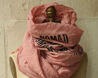 NOMAD dirty pink Scarf,  printed scarf,  cotton , large , fashion, unique accessories, autumn, fall