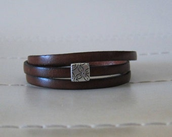 Brown Flat Leather Triple Wrap Bracelet with Silver Slide