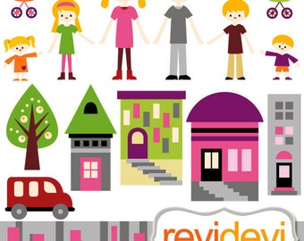 Family clipart sale / urban family clip art / parents kids / mom dad brother sister son daughter / family day, city houses
