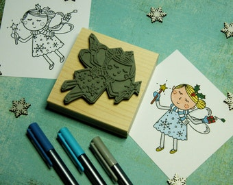 Christmas Fairy Rubber Stamp - Flying Fairy Colouring In Christmas Rubber Stamper -  Stocking Stuffer Filler - Christmas Card - Scrapbooking