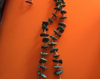 Vintage native American Turquoise nuggets and Heishi Necklace