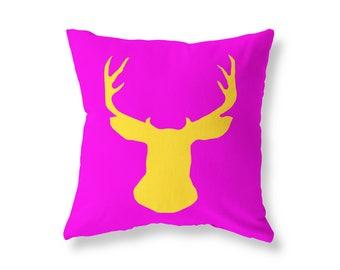 Fuchsia Cushion cover, Deer Stag Head Throw Pillow, Cotton Twill, 40cm (16'') x 40cm (16''), Hidden Zip
