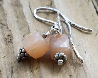 Peach Moonstone Earrings and Hill Tribe Silver, Moonstone Cube, Sterling Silver Hand Forged Ear Wire, Beachy