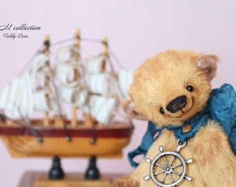 OOAK Teddy Bear interior toy coastal vintage style collectible traditional jointed  handmade home decor artist art Thanksgiving day