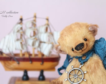 "Christmas Teddy Bear style Artist German viscose "" Boatswain"" 4,7 inch handmade OOAK collectible jointed Teddy Bear toy"
