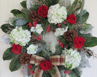 XL Christmas Wreath, Green Snow Covered Hydrangeas, Red Roses, Magnolia Leaves, Door Decor