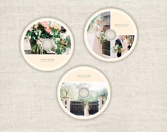 Wedding DVD Templates for Photographers - Elegant Photography Templates - 3  Cd Designs Photoshop Templates - INSTANT DOWNLOAD