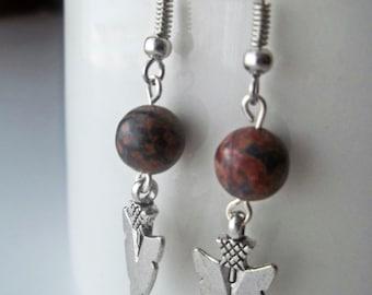 Arrowhead Earrings - Brown Leopard Jasper and Silver Arrowhead Drop Earrings