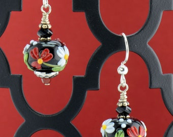 Black Red Green White Silver Lampwork Earrings - E2505 - Free Shipping