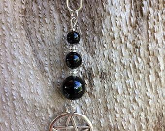 Onyx Pentagram Key fob Protection Wicca healing Stone Magic