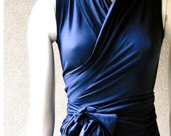 Sleeveless wrap shirt with shawl collar, organic clothing for women, organic cotton wrap top, blue shirt