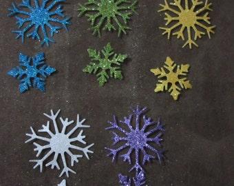 10 Glitter Snowflake Die Cuts