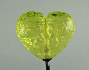 Sheri Fisher SRA Handmade Lampwork Glass Bead Focal Bead Heart Facet Chartreuse