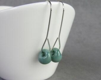 Light Bluegrass Green Minimalist Dangles Silver, Green Earrings, Glass Drop Earrings Green Glass, Sterling Silver Earrings, Silver Wire