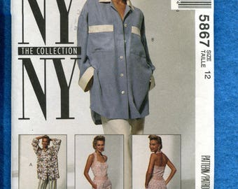 McCalls 5867 NY NY Pinup Girl Halter Top Shorts & Over Sized Shirt Pattern Size 10 UNCUT