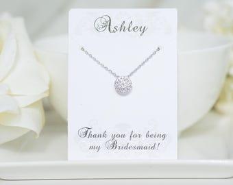 Personalized Bridesmaid Gift   Bridesmaid Necklace   Bridesmaid Jewelry   Wedding Jewelry   Bridal Jewelry