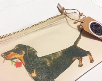 Dachshund pencil case, small makeup bag, cosmetic pouch, floral pencil case, sausage dog accessory pouch, gifts for her, stationary supplies